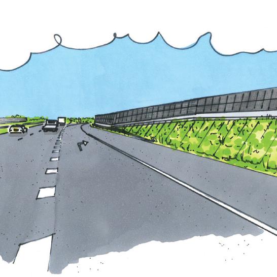 Uniek geluidsscherm vangt iedere lichtstraal langs de Solar Highway